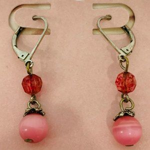 Vintage Pink Bead Earrings
